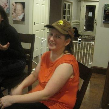 Sandy sporting her new hat