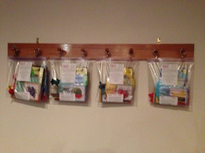 Bags on the wall in the cry room